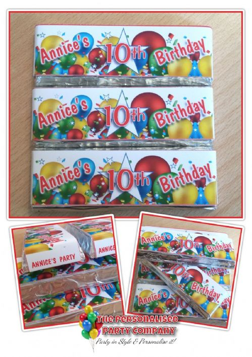 6 x Personalised 2 Finger KitKat Chocolate Favours - Happy Birthday Balloons N15